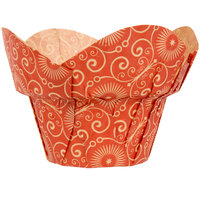 Enjay 2 inch x 2 3/4 inch Red Mariposa Print Lotus / Crown Baking Cup - 1000/Case