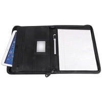 Universal UNV32665 10 3/4 inch x 13 1/8 inch Leather Textured Zippered Padfolio with Tablet Pocket