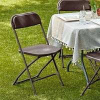 Lancaster Table & Seating Brown Textured and Contoured Folding Chair
