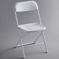 Lancaster Table & Seating White Textured and Contoured Folding Chair