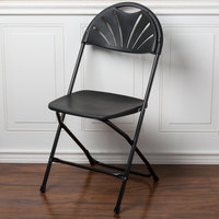 Lancaster Table & Seating Black Plastic Fan Back Folding Chair