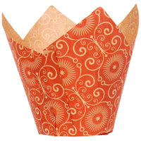 Enjay 2 inch x 3 1/4 inch Red Mariposa Print Tulip Baking Cup - 1000/Case