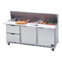 Beverage-Air SPED72HC-12M-2 72 inch 2 Door 2 Drawer Mega Top Refrigerated Sandwich Prep Table