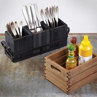 American Metalcraft WCBL4 3 7/8 inch x 3 7/8 inch x 4 3/4 inch Black Wood Caddy