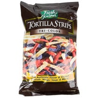 Fresh Gourmet Tri-Color Tortilla Strips 1 lb. Bag - 10/Case