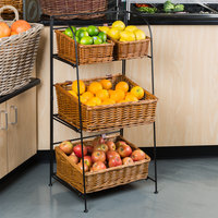 Natural Rectangular 3 Tier Merchandising Rack with 4 Baskets - 18 inch x 35 inch