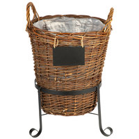 Natural Round Wicker Display Basket with Metal Sign and Stand - 15 inch x 22 inch