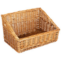 Natural Rectangular Wicker Display Basket - 16 inch x 13 inch - Slant Top