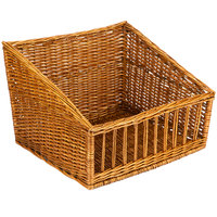 Natural Rectangular Wicker Display Basket - 18 inch x 17 inch - Slant Top