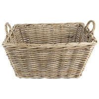 Ash Rectangular Wicker Display Basket with Handles - 23 inch x 17 inch x 12 inch