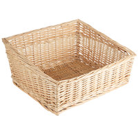 Light Rectangular Wicker Display Basket - 17 inch x 18 inch - Slant Top
