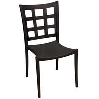 Grosfillex US646017 / US647017 Plazza Black Sidechair with Window Back - Pack of 4