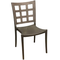 Grosfillex US646579 / US647579 Plazza Charcoal Sidechair with Titanium Gray Window Back - Pack of 4