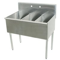 Advance Tabco 4-3-54 Three Compartment Stainless Steel Commercial Sink - 54 inch