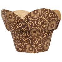 Enjay BC-ROUNDWRAP-BROWNPTD160 2 inch x 2 3/4 inch Dark Brown Mariposa Print Lotus / Crown Baking Cup - 100/Pack