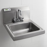Regency 17 inch x 17 inch Wall Mounted Hand Sink with 8 inch Deck Mounted Gooseneck Faucet