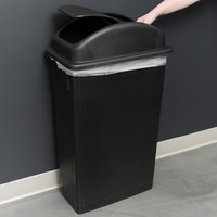 Lavex Janitorial 23 Gallon Black Slim Rectangular Trash Can with Swing Dome Lid