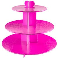 Enjay CS-PINK 3-Tier Disposable Pink Cupcake Treat Stand