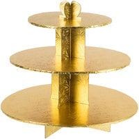 Enjay CS-GOLD 3-Tier Disposable Gold Cupcake Treat Stand