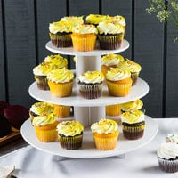 Enjay CS-WHITE 3-Tier Disposable White Cupcake Treat Stand
