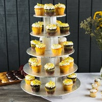 Enjay CS-5T-SILVER 5-Tier Disposable Silver Cupcake Treat Stand