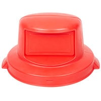 Continental 5550RD Huskee 55 Gallon Red Round Dome Top Trash Can Lid