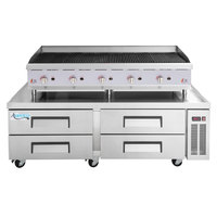 Cooking Performance Group 60CBLRBNL 60 inch Gas Lava Briquette Charbroiler with 4 Drawer Refrigerated Chef Base - 200,000 BTU