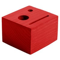 Menu Solutions WDBLOCK-CHECK 3 1/2 inch x 3 1/2 inch x 2 1/2 inch Customizable Berry Wood Block Check Presenter