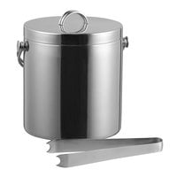 Tablecraft H303 Double Wall Stainless Steel 3.75 Qt. Ice Bucket with Lid and Tong