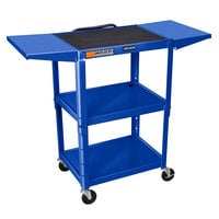 Luxor AVJ42DL-RB Adjustable Height Blue A/V Cart with Drop Leaf Shelves