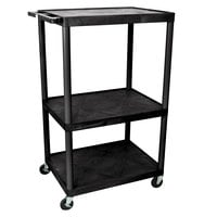 Luxor LP54-B Heavy-Duty 3 Shelf A/V Cart - 32 inch x 24 inch x 54 1/4 inch