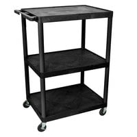 Luxor LP48-B Heavy-Duty 3 Shelf A/V Cart - 32 inch x 24 inch x 48 1/4 inch
