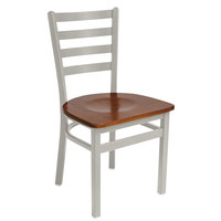 BFM Seating 2160CCHW-SM Lima Silver Mist Steel Side Chair with Cherry Wooden Seat