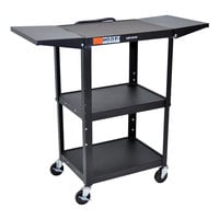 Luxor AVJ42DL Adjustable Height Black A/V Cart with Drop Leaf Shelves