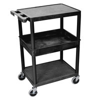Luxor STC212-B Black 2 Flat/1 Tub Shelf Utility Cart - 24 inch x 18 inch