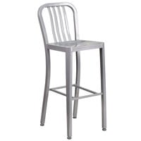 "Flash Furniture CH-61200-30-SIL-GG 30"" Silver Metal Indoor / Outdoor Bar Height Stool with Vertical Slat Back"