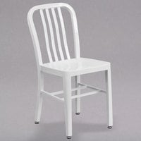 Flash Furniture CH-61200-18-WH-GG White Metal Indoor / Outdoor Chair with Vertical Slat Back