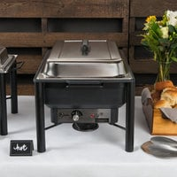 Choice 8 Qt. Wrought Iron Pillar Electric Chafer Kit with Stainless Steel Cover and Plastic Handle