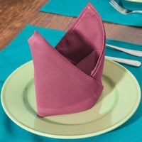 Intedge Mauve 100% Polyester Cloth Napkins, 20 inch x 20 inch - 12/Pack