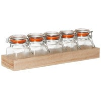 Tablecraft HFLGLASS5 Taster Flight Set - 5 Glass Jars with Natural Wood Crate