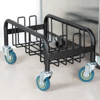 Lavex Janitorial Black Slim Trash Can Dolly