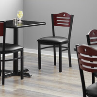 Lancaster Table & Seating Mahogany Finish Bistro Dining Chair with 1 1/2 inch Padded Seat - Detached Seat