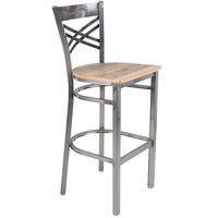 Lancaster Table & Seating Clear Coat Steel Cross Back Bar Height Chair with Driftwood Seat - Detached Seat