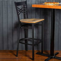 Lancaster Table & Seating Black Cross Back Bar Height Chair with Driftwood Seat - Detached Seat
