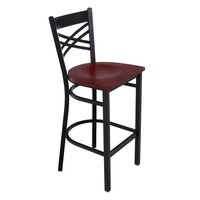 Lancaster Table & Seating Cross Back Black Bar Height Chair with Mahogany Seat - Detached Seat