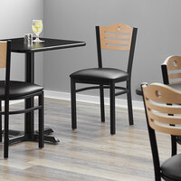Lancaster Table & Seating Natural Finish Bistro Dining Chair with 1 1/2 inch Padded Seat - Detached Seat