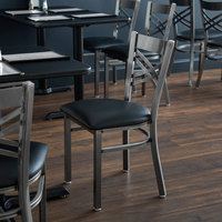 Lancaster Table & Seating Clear Coat Steel Cross Back Chair with 2 1/2 inch Black Padded Seat - Detached Seat