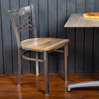 Lancaster Table & Seating Clear Coat Steel Cross Back Chair with Driftwood Seat - Detached Seat