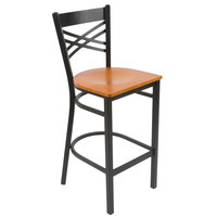Lancaster Table & Seating Cross Back Bar Height Chair with Cherry Wood Seat - Detached Seat