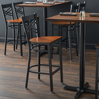 Lancaster Table & Seating Black Cross Back Bar Height Chair with Antique Walnut Seat - Detached Seat